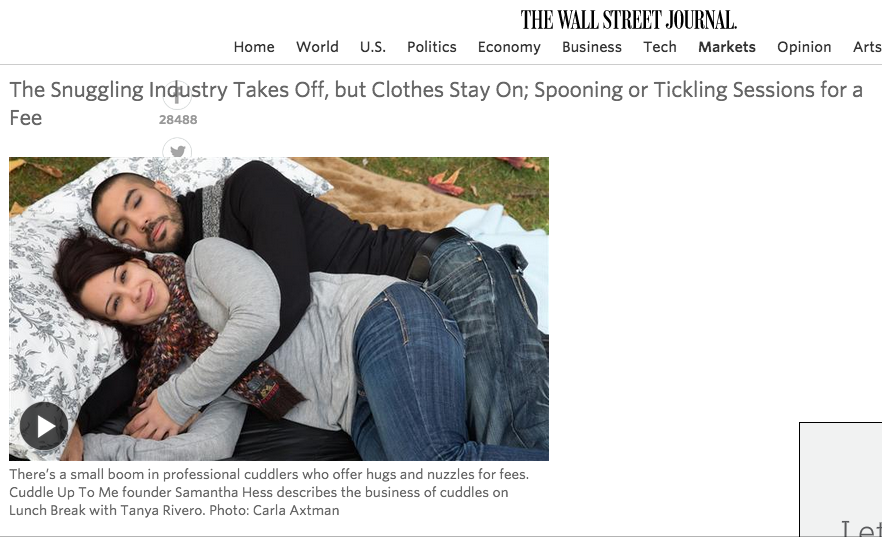 """A generation of anxious young adults who cannot self-soothe easily now turn to """"cuddlers"""" whom they pay to hold them."""